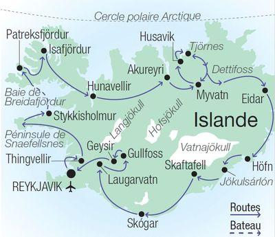 Carte du circuit en Islande